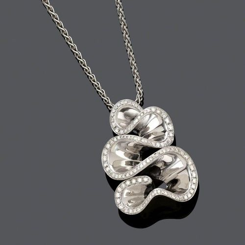*DIAMOND AND GOLD PENDANT WITH CHAIN, BY DE GRISOGONO. White gold 750, 33g. Pend…