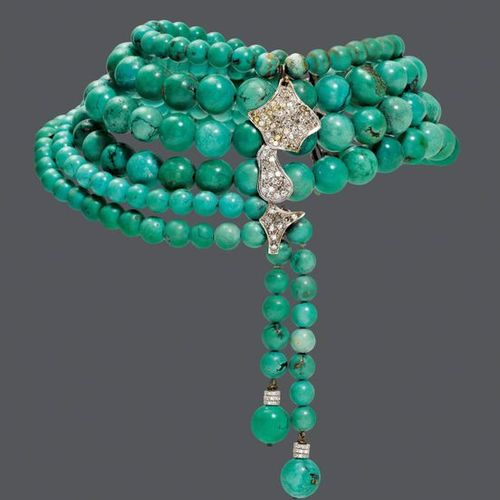 *TURQUOISE AND DIAMOND NECKLACE, BY HEDY MARTINELLI, ca. 1970. Silver 925 and wh…