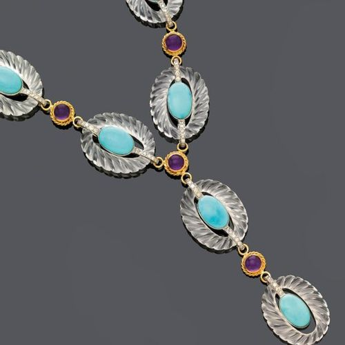 """*MULTIGEM AND DIAMOND NECKLACE. White and yellow gold 585, 129g. """"Y"""" shaped neck…"""