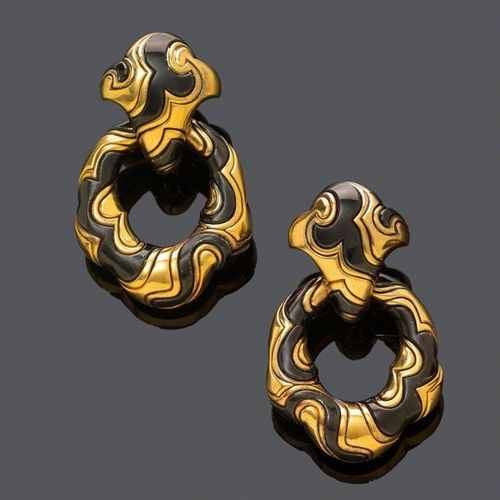 GOLD EARCLIPS, BY MARINA B., 1988. Silver alloy and yellow gold 750, 79g. Model …