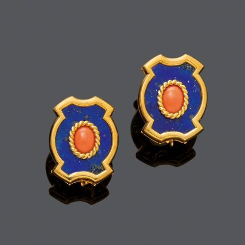 LAPIS LAZULI AND CORAL EARCLIPS, BY VAN CLEEF & ARPELS, ca. 1980. Yellow and whi…