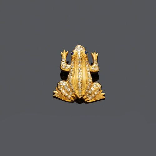 *DIAMOND, SAPPHIRE AND GOLD PENDANT, ca. 1980. Yellow gold ca. 690, 12g. Designe…