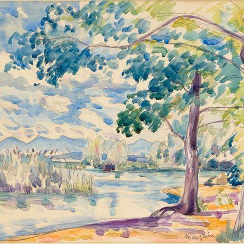 HENRI CHARLES MANGIUN (Paris 1874–1949 St. Tropez) La plage à Colombier. 1917. W…