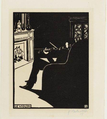 FELIX VALLOTTON (Lausanne 1865 1925 Paris ) Le Violon. 1896 .Woodcut. 15/100. Si…