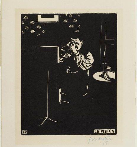 FELIX VALLOTTON (Lausanne 1865 1925 Paris ) Le Piston. 1897 .Woodcut. 15/100. Si…