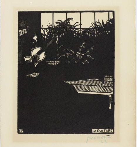 *FELIX VALLOTTON (Lausanne 1865 1925 Paris )La Guitare. 1897 .Woodcut. 23/100. S…