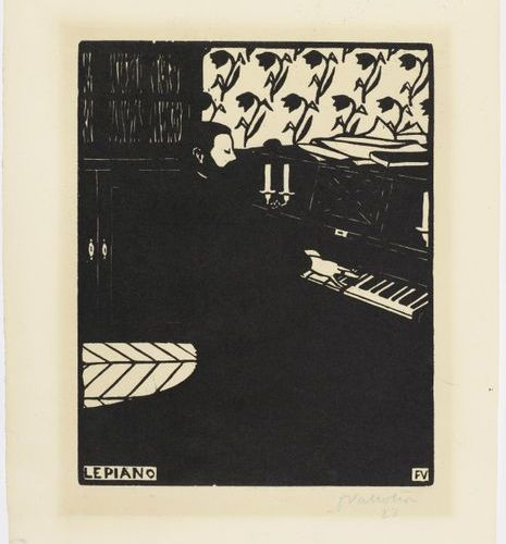 *FELIX VALLOTTON ( Lausanne 1865 1925 Paris)Le Piano. 1896 .Woodcut. 28/100. Sig…