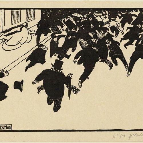 FELIX VALLOTTON (Lausanne 1865 1925 Paris )La Manifestation . 1893 .Woodcut. 70/…