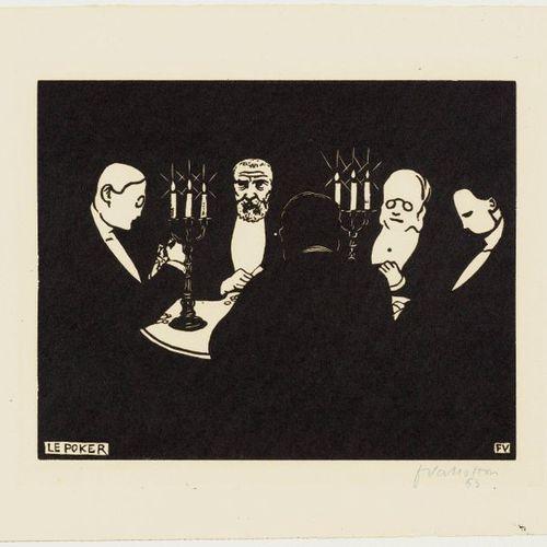FELIX VALLOTTON (Lausanne 1865 1925 Paris )Le Poker. 1896 .Woodcut. 63/80. Signe…