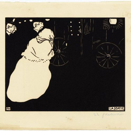FELIX VALLOTTON (Lausanne 1865 1925 Paris )La Sortie . 1895 .Woodcut. 22/100. Si…