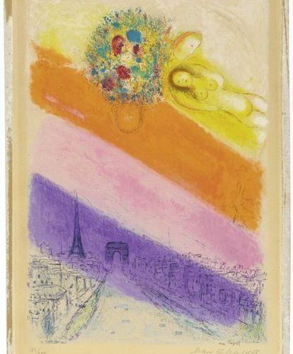 AFTER MARC CHAGALL (Vitebsk 1887 1985 St Paul de Vence )Les Champs Elysées . 195…