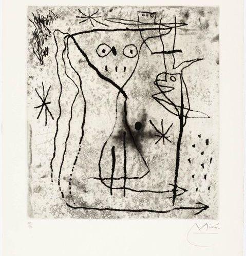 JOAN MIRÓ (Montroig 1893 1983 Palma de Mallorca )Jeune fille aux deux oiseaux. 1…