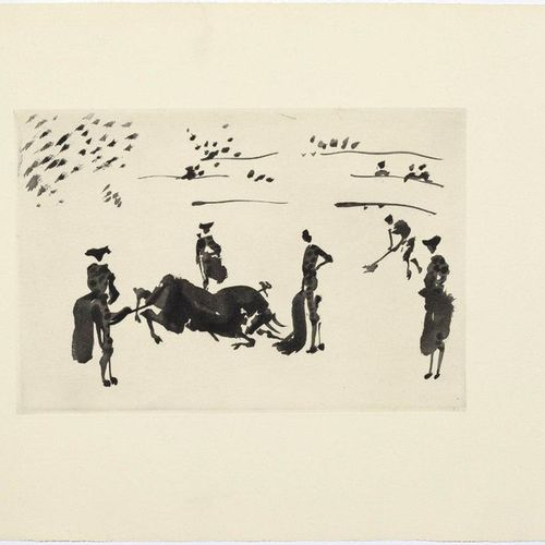 *PABLO PICAS SO (Málaga 1881 1973 Mougins)Muerte del Toro. 1957 .Aquatint etchin…