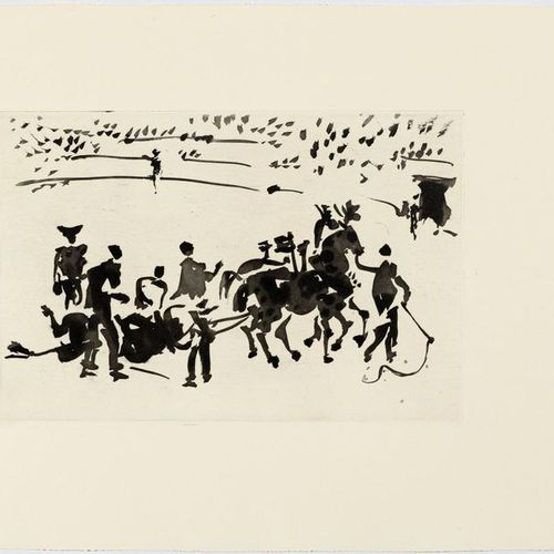 *PABLO PICAS SO (Málaga 1881 1973 Mougins)El Arrastre. 1957 .Aquatint etching. F…