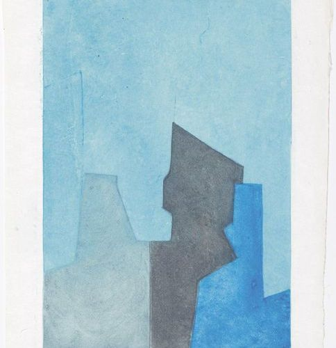 *SERGE POLIAKOFF (Moscow 1900 1969 Paris )Composition bleue. 1964 .Color etching…