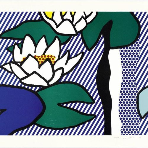 *ROY LICHTENSTEIN ( 1923 New York 1997 )Les Nymphéas . 1993 .Color woodcut, lino…