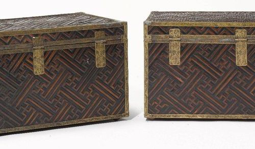 A PAIR OF LACQUERED WOOD AND BAMBOO CHESTS. Korea, 1st half 20th c. 67 × 34 × 33…