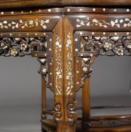 A PAIR OF HONGMU DEMI LUNE CONSOLE TABLES. China, 19th c. 94 × 52 cm. Featuring …