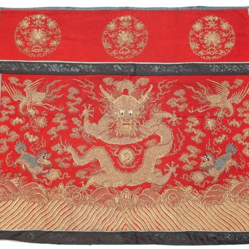 *THREE FURNITURE COVERS EMBROIDERED WITH DRAGONS. China, 19th c. 84 × 96 cm (tab…