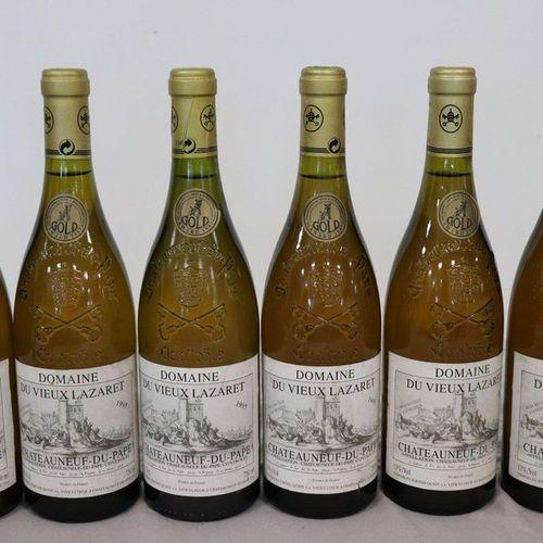 6 Blles CHÂTEAUNEUF DU PAPE blanc Domaine du Vieux Lazaret 1995 6 Blles CHÂTEAUN…