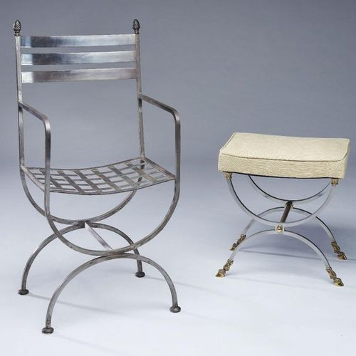 FAUTEUIL et TABOURET Steel FALK and TABOURET, the stool with curved legs finishe…
