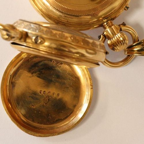 DEUX MONTRES DE COL e TWO YELLOW GOLD NECK WATCHES (750), one with an enamelled …