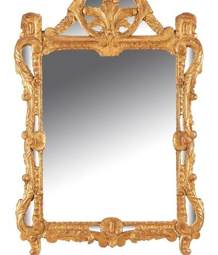 MIROIR Rectangular MIRROR with gilded stucco and wood beaded pediment, rocaille …