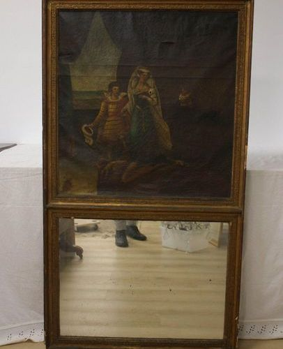 TRUMEAU TRUMEAU with rectangular mirror in the lower part, and painted canvas in…