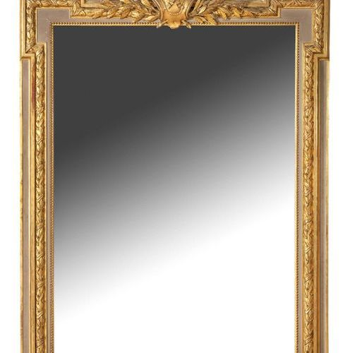 Miroir de cheminée MIRROR OF CHIMNEY in grey and gold lacquered wood, with knott…