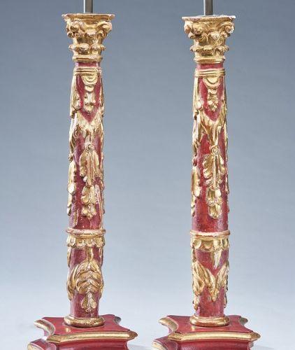 PAIRE DE LAMPES PAIRE DE LAMPES formées d'un fût colonne à chapiteau corinthien …