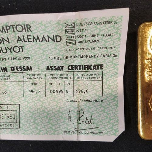 Gold ingot. Gross weight: 999.8 g. Weight of fine gold: 996,6 g. Test bulletin n…