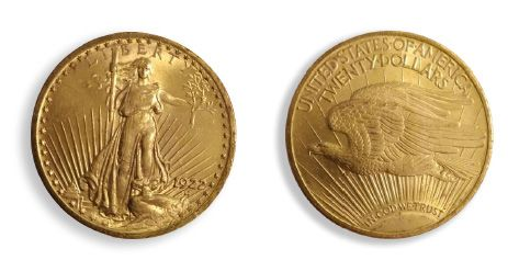 United States $20: 13 copies. Type Saint Gaudens 1922. APC to SUP and SUP Cours