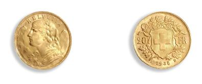 Switzerland 20 francs gold: 25 copies, type Vreneli. Superb Courses