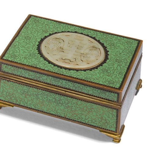 Jewelry box in cloisonné enamels on a green and yellow background with cherry bl…