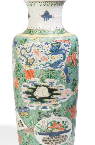 Scroll vase in porcelain and enamels of the green family, decorated with medalli…