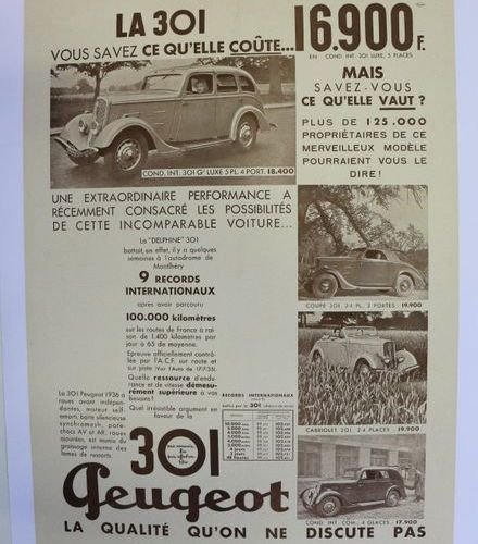 Peugeot 301. Canvas poster. 66x50cm