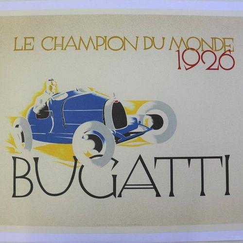 Bugatti champion du Monde 1926. Affiche entoilée. Edition 1981. 68,5x94cm