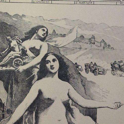 Coupe des Pyrénées 1905, La Dépêche. Affiche entoilée. 50x65,5cm