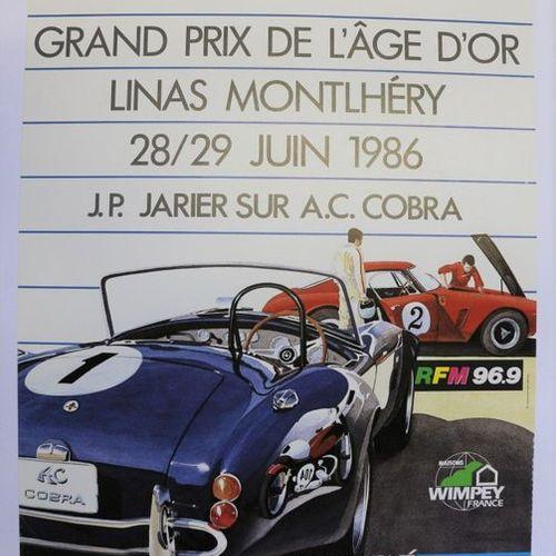 Coupe de l'Age d'Or 1986, Jarier sur AC Cobra. Affiche entoilée. 60x50cm