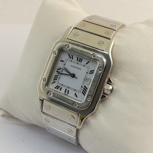 CARTIER. Men's wristwatch model Santos curved in steel. Curved square case with …