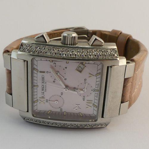ANDRE LE MARQUAND Genève. Montre chronographe en acier . Boitier rectangulaire à…