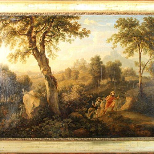 1700年左右的意大利学校。动画景观。布面油画,60 x 82厘米。