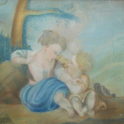 18世纪的学校。两个孩子。粉笔画。22,5 x 26,5厘米。(角落里的湿气)。加入一幅19世纪的水彩画。