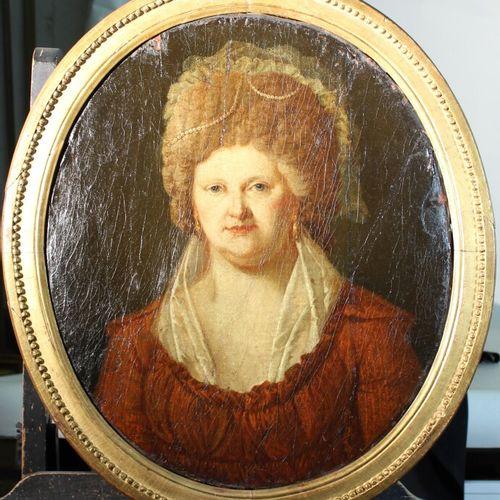 法国学校 十八世纪。椭圆形的优质女士画像。布面油画。高度:57厘米。修复。
