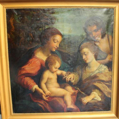 18世纪科雷吉奥之后的学校。亚历山大的圣凯瑟琳的神秘婚礼。布面油画。106 x 103厘米。重要的修复工作。