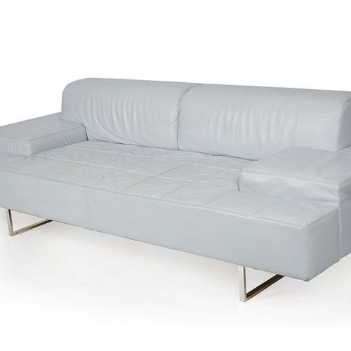 Pierluigi CERRI (1939) Sofa Four Light Blue Leather, steel. Ed. Poltrona Frau (S…