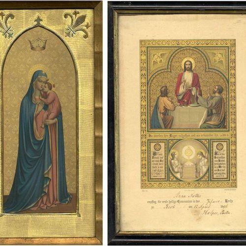 Varia et divers Deux tableaux religieuxa) Madone avec enfant dans un cadre doré.…