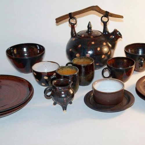 Miscellaneous Handmade tableware 24 x pieces, ceramic tableware, various worksho…