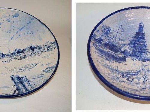 Danzer, Horst Leoben 1934 Marl 2019 Art européen deux bols en céramique, paysage…