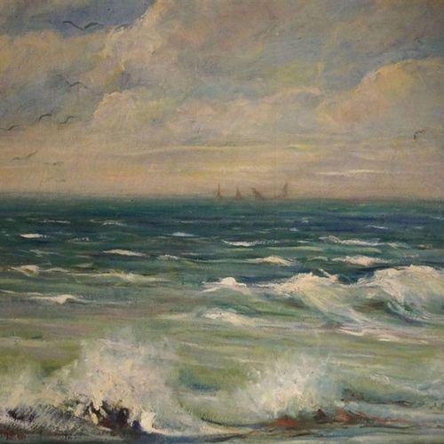 Uberti, Dino 1885 1949 Art européen Surf de mer / Peinture à l'huile sur toile59…